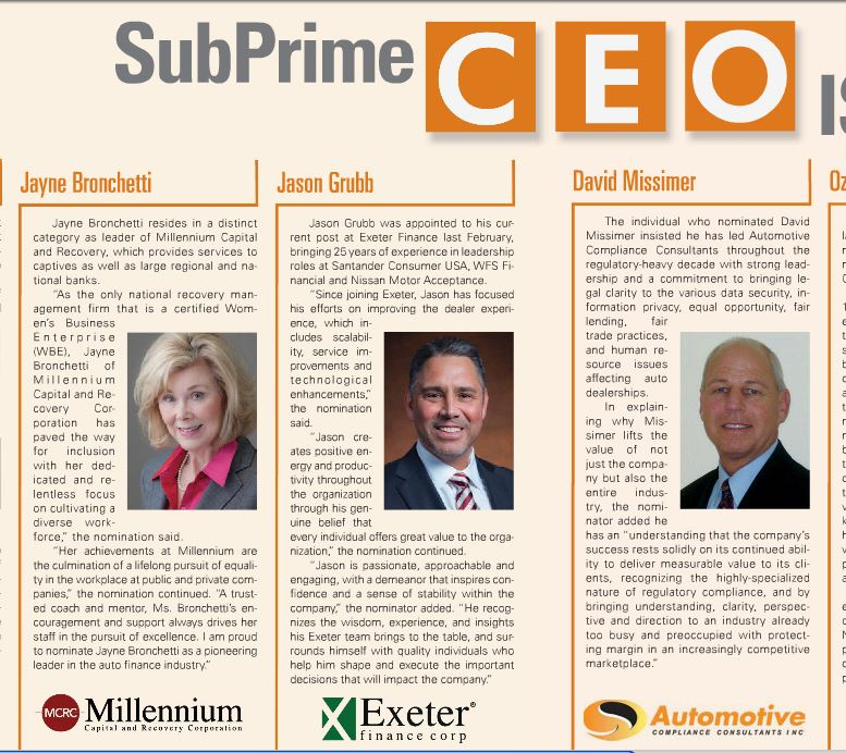 Millennium Capital and Recovery Corporation's president Jayne Bronchetti top CEO in the auto finance industry according to SubPrime Auto Finance News